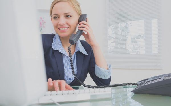 Woman cold calling for appointment setting