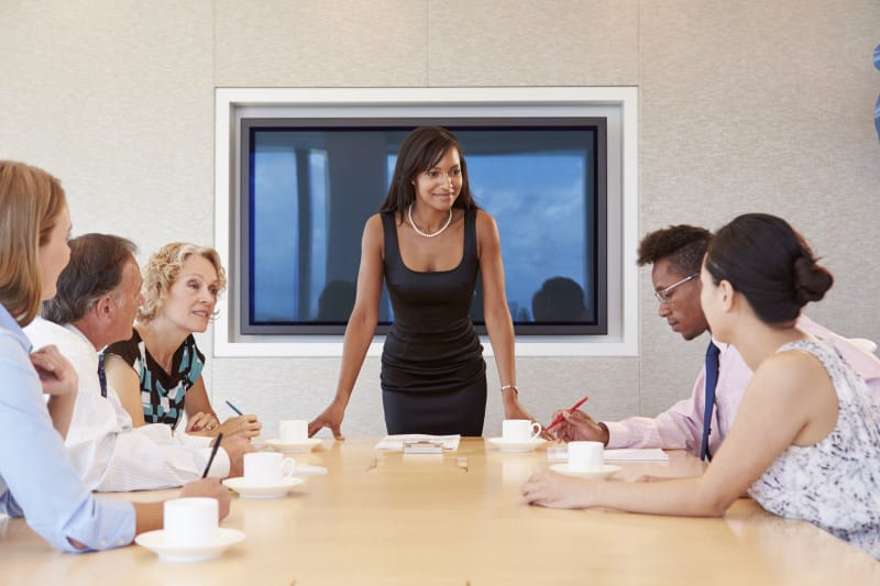 Businesswoman leading a meeting at a conference table