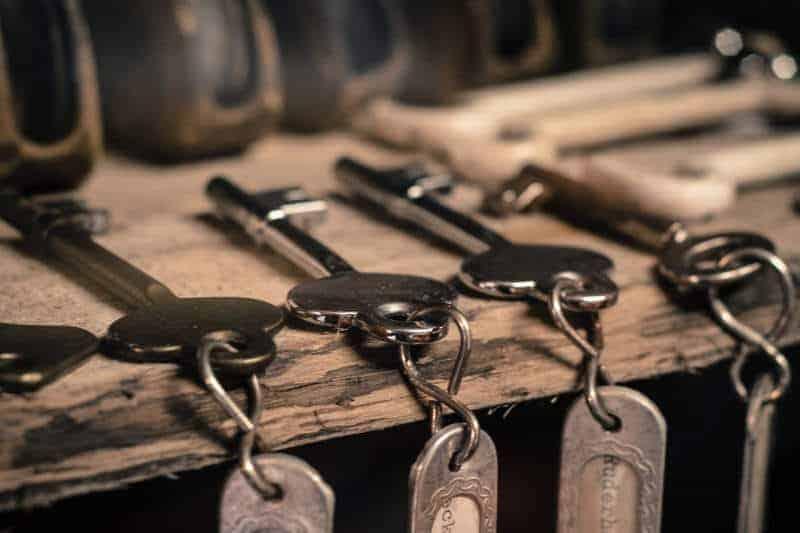 Four keys on a table